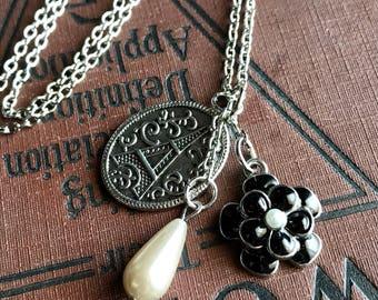 Art Deco Necklace, Eiffel Tower Charm, Paris Necklace, Paris Jewelry, Art Deco Jewelry, Victorian Jewelry, Victorian Necklace, Long Necklace