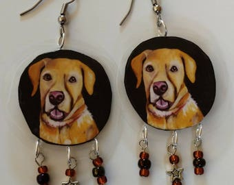 Yellow Labrador Earrings-Laminated Dog Earrings-Lab-Lightweight-Comfortable-Dangle-Beads-French Earwires-Surgical Steel Wires-Hypoallergenic