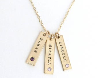 Birthstone Jewelry, Mothers Day Name Necklace,  Personalized Bar Necklace, Vertical Bar Necklace,  Gift for her, Grandma Necklace,