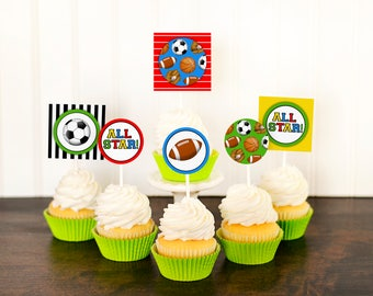 Sports Cupcake Toppers - Sports Birthday Party - Sports Baby Shower - All Star Cupcake - Football Party - Soccer Party - Boys Birthday -