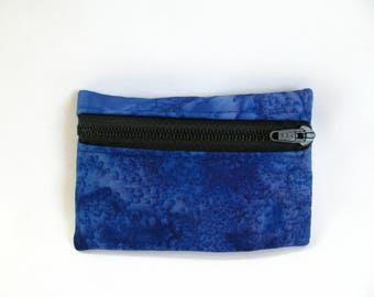 Small pouch- Blue tie dye cotton