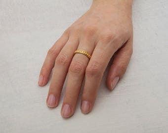 Gold Beaded Ring 18k Wedding Band, Dotted Ring, Bubbles Ring, 18K Gold Band Stacking Gold Ring 14K Gold Womens Band Roman Ring, Dot, ball