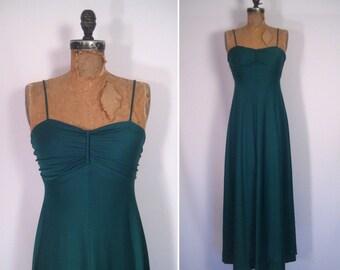 1970s green goddess gown • 70s emerald maxi dress • vintage sound of midnight dress