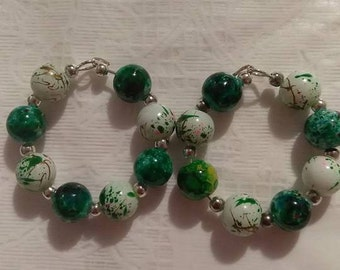 Green Multi 8MM Bead  Earrings