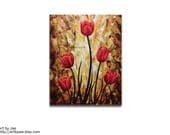 Red Tulips Modern Realistic Painting
