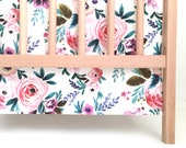 Crib Skirt Victoria Floral. Baby Bedding. Crib Bedding. Crib Skirt Girl. Baby Girl Nursery. Floral Crib Skirt.