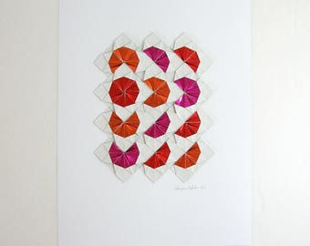 Red and White Origami Sketch No20 - Original Paper Collage Art - Modern Wall Decor - Geometric Op Art - White Home Decor - Paper Anniversary