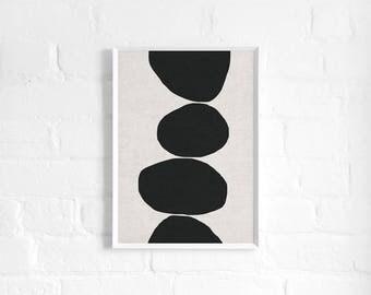 Natural Stacked Stones Abstract A3 Art Print, Monochrome, Linen Texture, Organic, Minimalist Art Poster, Modern Abstract Art, Wall Decor