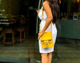 Leather Cross Body Bag, Yellow Tote Bag, Travel Bag, Shoulder Bag, Messenger Bag, Yellow Satchel, Gift For Her, Small Tote Bag