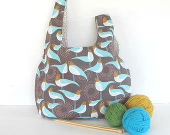 Knitting Bag, large Knitting Project Bag, Crochet bag, Gift for knitters, Yarn bag, Japanese Knot bag.