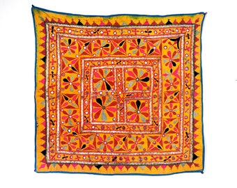 Tribal Gypsy Banjara Multi Color Hand Embroidered Tapestry Cotton Indian Ethnic Handmade Bohemian Mirror Work Wall Hanging Vintage Yellow