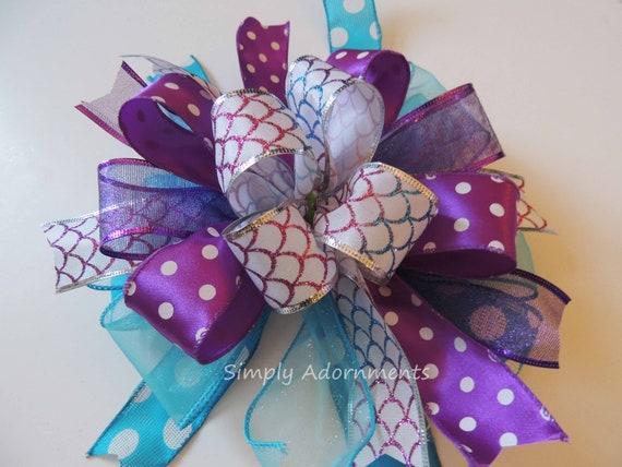 Under The Sea Birthday Party Decor Purple Blue Wreath Bow Mermaids Birthday Bow Seaside Party Decor Mermaid Theme Party Decor Gift Bow
