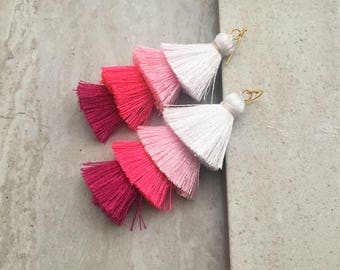 Pink Ombre Tassel Stack Earrings Layered Silk Tassel Earrings