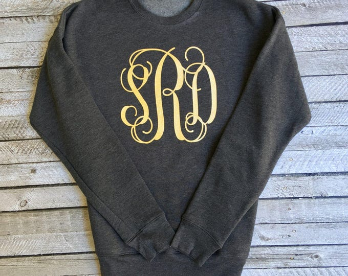 Monogrammed Sweatshirt, Monogram Sweatshirt, Monogram Pullover, Monogram sweater, Glitter Monogram, Mother Daughter Sweatshirts, Bridesmaid
