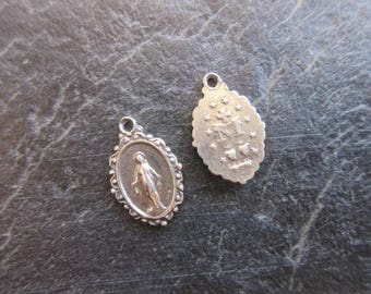 1pc Miraculous Medal Charm Sterling Silver 925 charm oxidized finish 11mm x 17mm bracelet charm Catholic pendant Mother Mary medal MED11