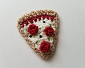 """NEW- 1pc 2.5"""" SUPREME PIZZA Slice Crochet Applique"""