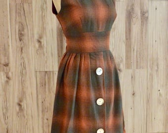 1950s Sleeveless Brown & Orange Wool Dress, Fifties Collegiate Back To School Dress, Abstract Plaid Dress w/ Big Brass Buttons