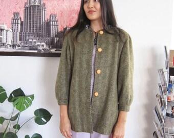 Mohair Coat - Green Mohair Jacket - Olive Green Coat - Vintage 80s Coat - 80s Clothing - Fuzzy Jacket - XS S