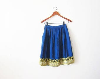 60s skirt - vintage 1960s skirt - full skirt - circle skirt - blue vintage skirt - high waisted skirt - 1960s clothing - bullion soutache