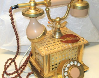 """Vintage style """"TeleQuest""""  Rotary Dial Cradle Telephone 1973"""