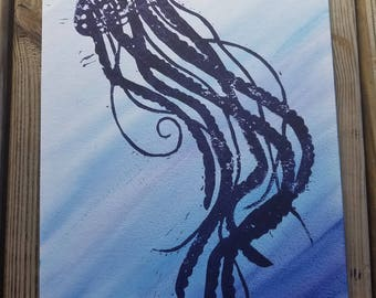Jellyfish Linocut Relief Print with Watercolor Background