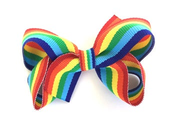 Rainbow hair bow - rainbow bow, hair bows, girls bows, girls hair bows, baby bows, boutique bows, toddler bows, 3 inch hair bows, hair bow