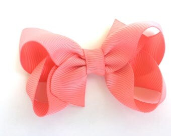 3 inch light coral hair bow - light coral hair bow, coral bow, boutique bows, 3 inch bows, girls hair bows, toddler bows, baby bows, hairbow