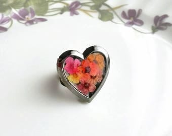 Funky rings Locket ring Real flower heart photo locket ring for girlfriend Gardening gift Adjustable ring Nature inspired jewelry for mom