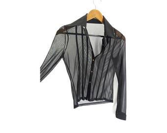 Vintage 1990s Sheer Black Shirt - Transparent - See Through Mesh - Clubbing - Size 10UK  (6US)
