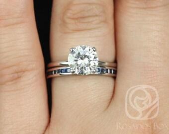 Rosados Box Sandra 8mm & Judy 14kt White Gold Round F1- Moissanite, Sapphire, and Diamond Non-Cathedral Wedding Set