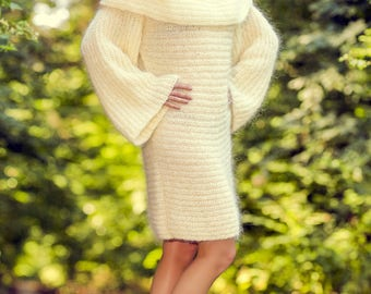 Fuzzy ivory hand knitted long mohair sweater dress with cowlneck by SuperTanya