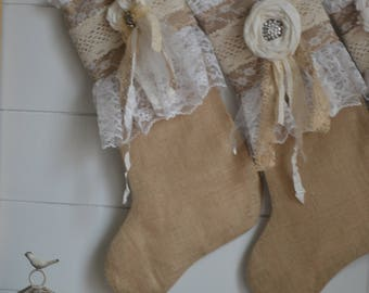 a Burlap Stocking Christmas Stocking/Lace Cuff Christmas Stocking with Hand-Rolled Fabric Flower/Prairie Farmhouse Style/Rustic Chic/Limited