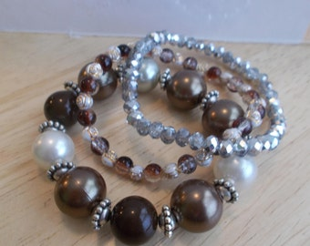 3 Bangle Stretch Bracelets with Silver Crystal Beads, Brown and White Pearled beads, and Glass and Flower Beads