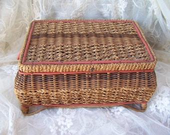 Vintage Sewing Basket.Vintage Wicker Sewing Basket.Shabby Chic Decor.Make Do and Mend.Mending Basket.Antique Sewing Basket.Sewing Room Decor