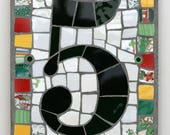Special Price Ready to Deliver No 5 Mosaic House Number in Bright Colours