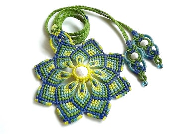 Macrame Mandala Pendant Necklace In Blue, Green and Yellow with Mother of Pearl Bead, Macrame Flower Necklace