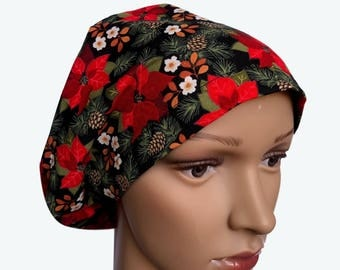 Euro Scrub Hat - Christmas Flower  Scrub Hat for women - Slouchy hat with Poinsettia Design