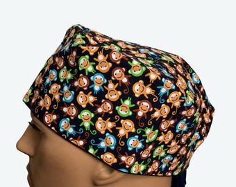 Surgical Scrub Cap - Bunch of Colorful Sock Monkeys on Navy Scrub Hat - unique scrub cap - personalized scrub hat - animals scrub hat