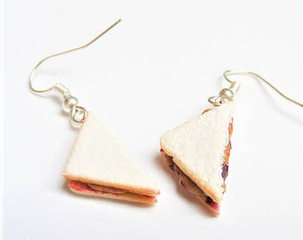 Food Jewelry PB and J Earrings, Peanut Butter and Jelly Earrings, Miniature Food Earrings, Mini food,  Kawaii Earrings, PB and J Sandwich