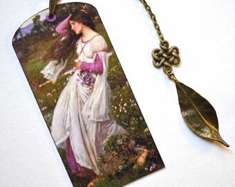 Mini Bookmark with Bronze Pendant - Art - Pre-Raphaelite Painting - Handmade
