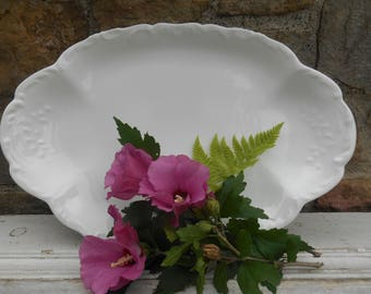 French White Porcelain China Limoges Platter Serving Tray Tressemann and Vogt Scrolled Design Antique Blank T & V Limoges France Depose