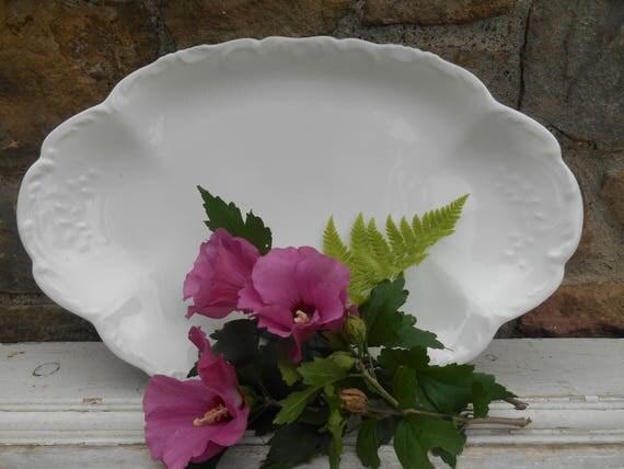 French White Porcelain China Limoges Platter Serving Tray Tressemann and Vogt Scrolled Design Antique Blank T & V Limoges France Depose