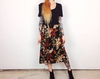90's Grunge Oversized Floral Fern Babydoll Midi Dress // Women's size Medium M Large L