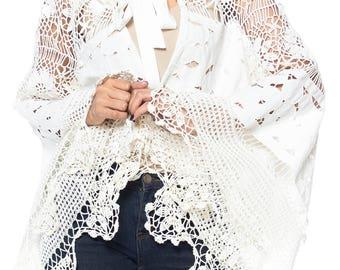 Oversized Bell Sleeved Vintage Lace Jacket