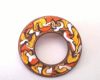 Vintage Round Copper Brooch Pin Enamel Orange Circle Retro Fashion Jewelry 1960s Climon