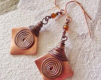 Antique Copper Earrings, wrapped and swirled copper wire, orange glass beads, handmade in Hawaii, FREE SHIPPING