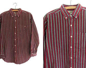 Corduroy Striped Oxford Shirt - Minimalist 90s Hip Hop Ivy League Preppy Style Long Sleeve Button Down Shirt - Mens Medium
