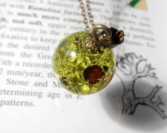 Wolf Lichen (Letharia columbiana) Sphere Necklace, Moss Jewelry, Plant Jewelry, mycology, fungi, algae, silver plated, botanicaljewelry