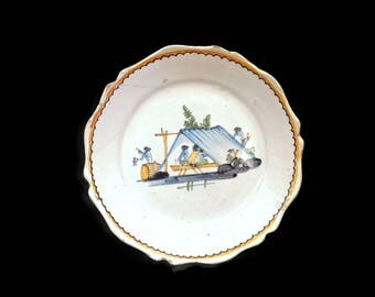 19th Century French Faience Plate w/Men in Tent w/Tankards French Pottery Tin Glazed