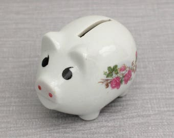 Small White and Pink Flower Pattern Ceramic Cute Pig Piggy Money Bank Figurine